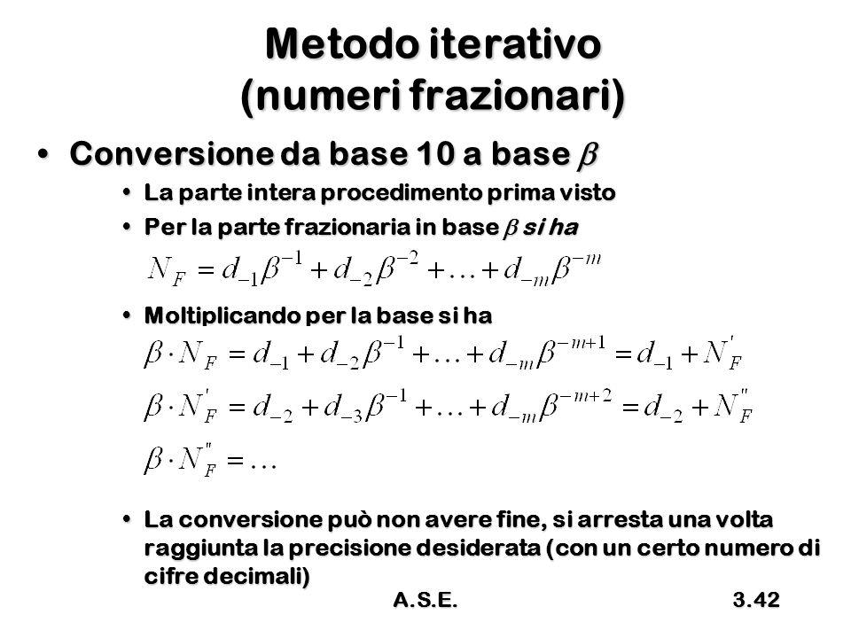 A.S.E.3.42 Metodo iterativo (numeri frazionari) Conversione da base 10 a base Conversione da base 10 a base  La parte intera procedimento prima vistoLa parte intera procedimento prima visto Per la parte frazionaria in base  si haPer la parte frazionaria in base  si ha Moltiplicando per la base si haMoltiplicando per la base si ha La conversione può non avere fine, si arresta una volta raggiunta la precisione desiderata (con un certo numero di cifre decimali)La conversione può non avere fine, si arresta una volta raggiunta la precisione desiderata (con un certo numero di cifre decimali)