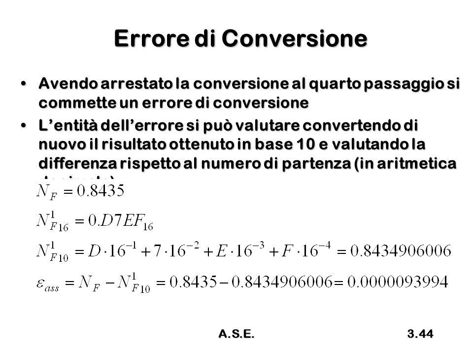 A.S.E.3.44 Errore di Conversione Avendo arrestato la conversione al quarto passaggio si commette un errore di conversioneAvendo arrestato la conversione al quarto passaggio si commette un errore di conversione L'entità dell'errore si può valutare convertendo di nuovo il risultato ottenuto in base 10 e valutando la differenza rispetto al numero di partenza (in aritmetica decimale)L'entità dell'errore si può valutare convertendo di nuovo il risultato ottenuto in base 10 e valutando la differenza rispetto al numero di partenza (in aritmetica decimale)