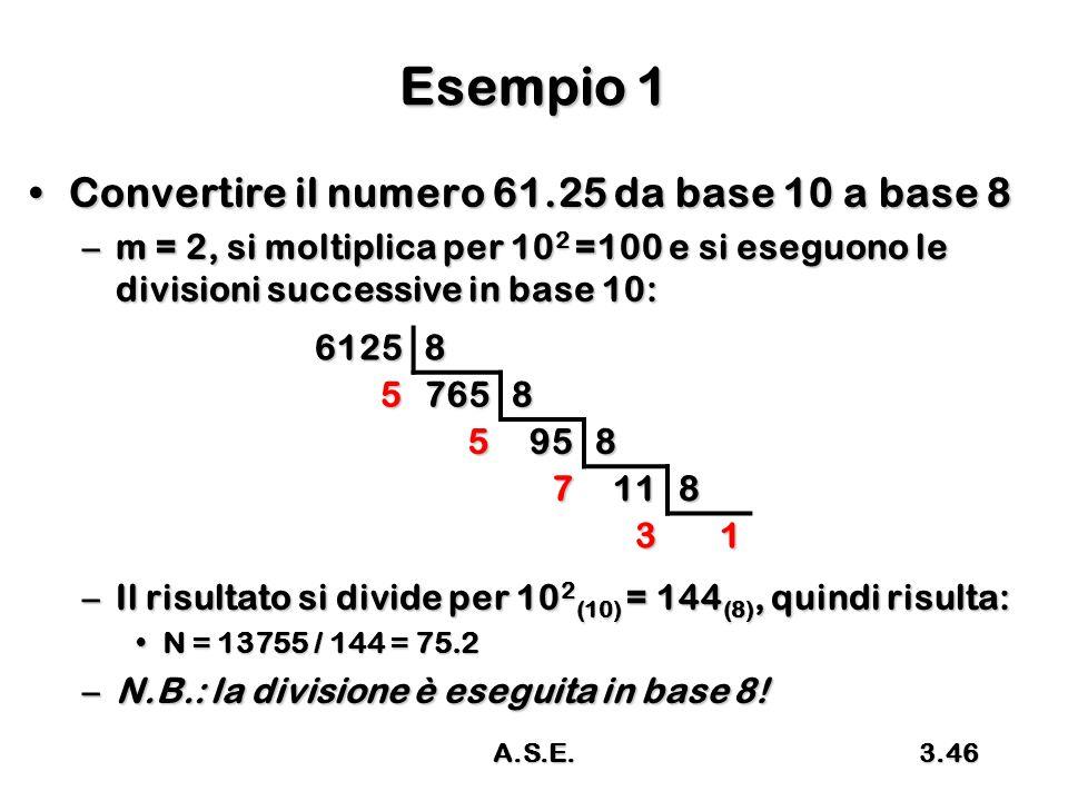 A.S.E.3.46 Esempio 1 Convertire il numero 61.25 da base 10 a base 8Convertire il numero 61.25 da base 10 a base 8 –m = 2, si moltiplica per 10 2 =100 e si eseguono le divisioni successive in base 10: –Il risultato si divide per 10 2 (10) = 144 (8), quindi risulta: N = 13755 / 144 = 75.2N = 13755 / 144 = 75.2 –N.B.: la divisione è eseguita in base 8.