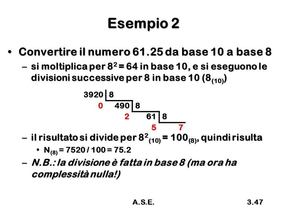 A.S.E.3.47 Esempio 2 Convertire il numero 61.25 da base 10 a base 8Convertire il numero 61.25 da base 10 a base 8 –si moltiplica per 8 2 = 64 in base 10, e si eseguono le divisioni successive per 8 in base 10 (8 (10) ) –il risultato si divide per 8 2 (10) = 100 (8), quindi risulta N (8) = 7520 / 100 = 75.2N (8) = 7520 / 100 = 75.2 –N.B.: la divisione è fatta in base 8 (ma ora ha complessità nulla!) 39208 04908 2618 57