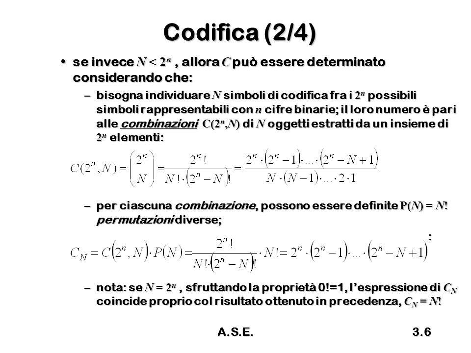 A.S.E.3.7 Codifica (3/4) ValoreABC 0001 1010 2011 3110 4111 5110 6101 Esempio: N = 7Esempio: N = 7 n = 3, C N = 8.