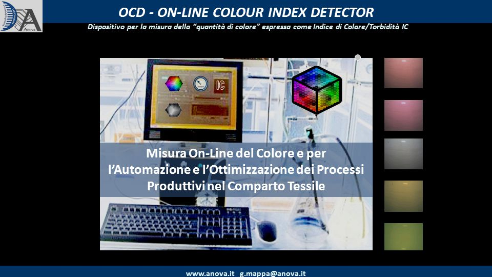OCD - Contenuti www.anova.it g.mappa@anova.it 1) Il Dispositivo Color Index Detector 2) Prove On-Line OCD – Progetto Life BATTLE 3) Prove On-Line OCD – c/o ZANOLO
