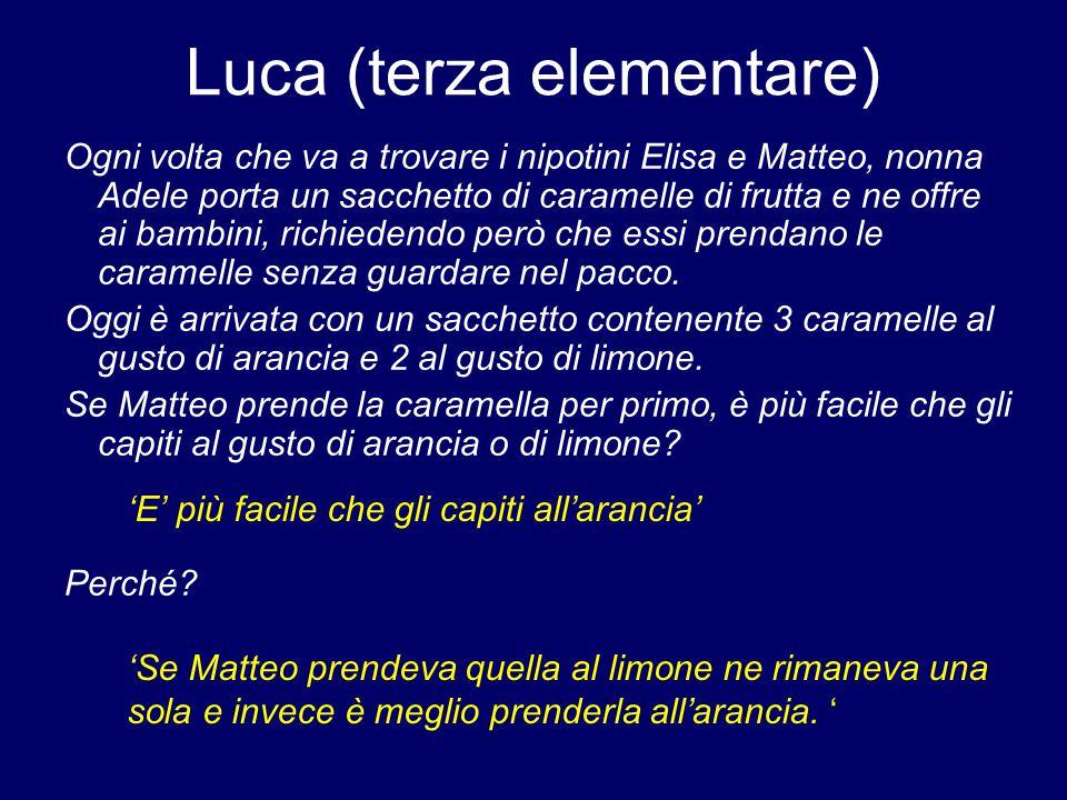Luca (terza elementare) Ogni volta che va a trovare i nipotini Elisa e Matteo, nonna Adele porta un sacchetto di caramelle di frutta e ne offre ai bambini, richiedendo però che essi prendano le caramelle senza guardare nel pacco.