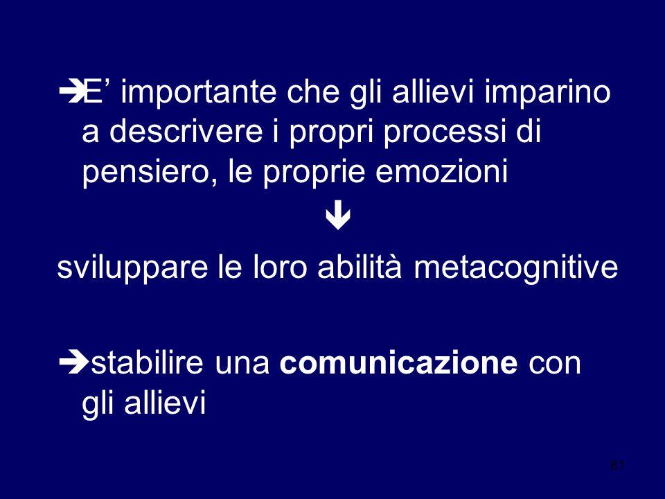 61  E' importante che gli allievi imparino a descrivere i propri processi di pensiero, le proprie emozioni  sviluppare le loro abilità metacognitive  stabilire una comunicazione con gli allievi