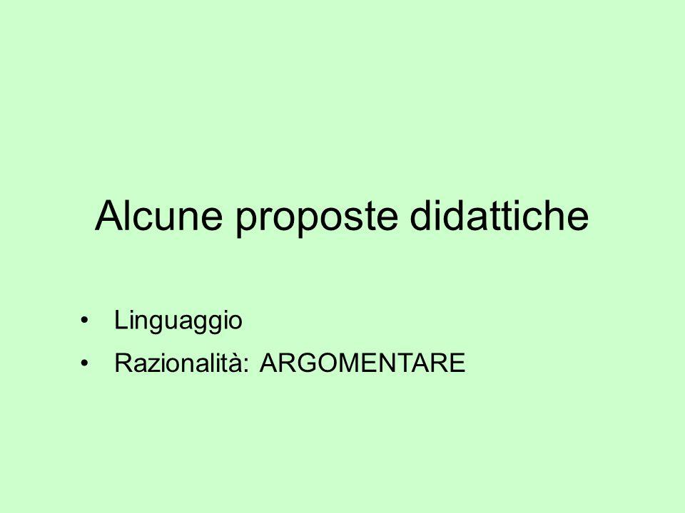 Alcune proposte didattiche Linguaggio Razionalità: ARGOMENTARE