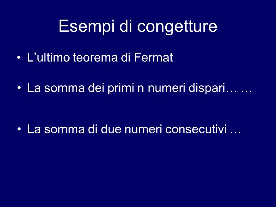 Esempi di congetture L'ultimo teorema di Fermat La somma dei primi n numeri dispari… … La somma di due numeri consecutivi …