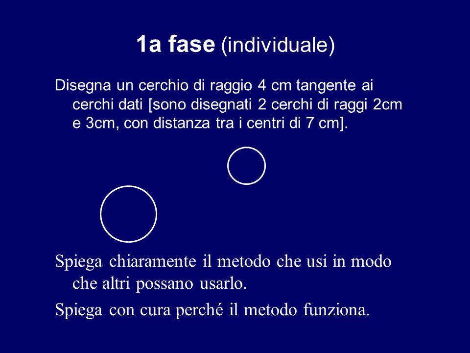 1a fase (individuale) Disegna un cerchio di raggio 4 cm tangente ai cerchi dati [sono disegnati 2 cerchi di raggi 2cm e 3cm, con distanza tra i centri di 7 cm].