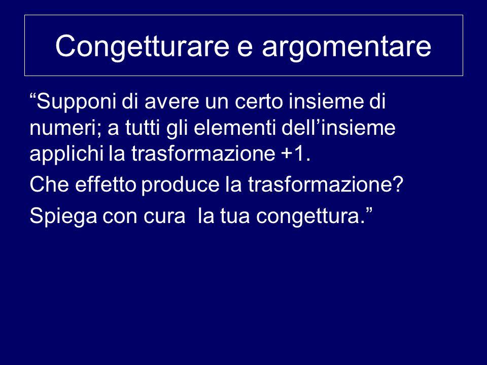 Congetturare e argomentare Supponi di avere un certo insieme di numeri; a tutti gli elementi dell'insieme applichi la trasformazione +1.