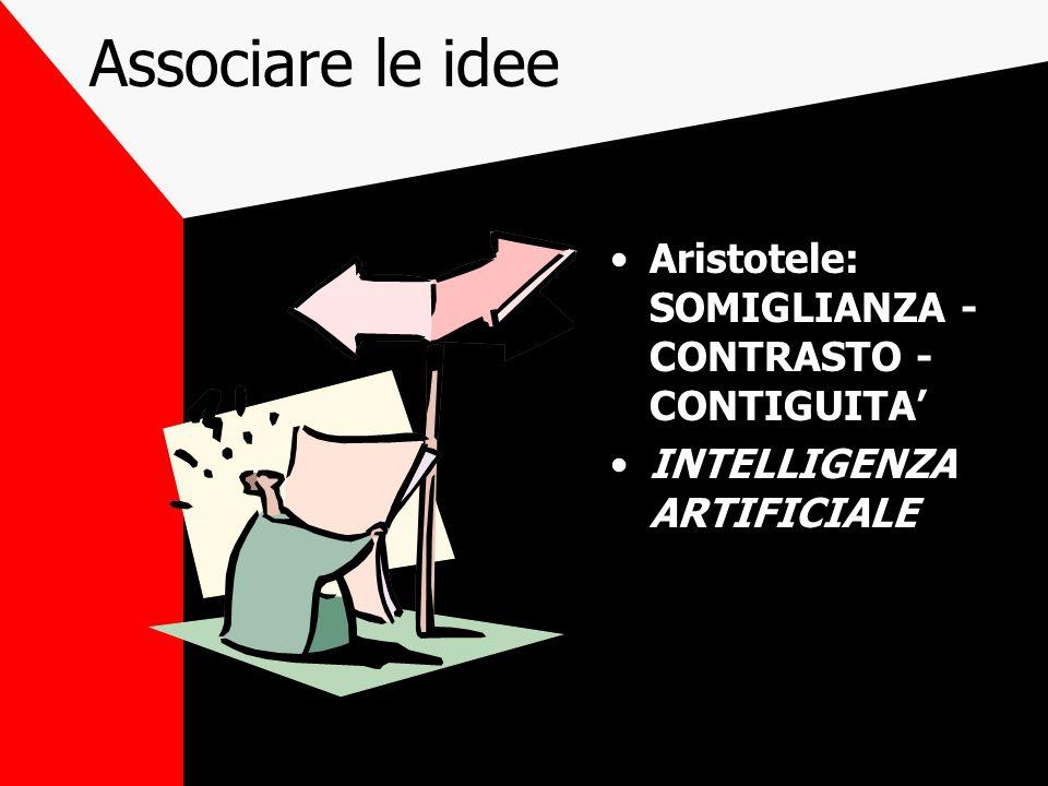 Associare le idee Aristotele: SOMIGLIANZA - CONTRASTO - CONTIGUITA' INTELLIGENZA ARTIFICIALE