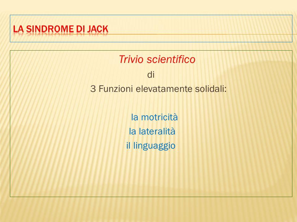Trivio scientifico di 3 Funzioni elevatamente solidali: la motricità la lateralità il linguaggio