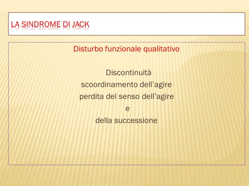 Disturbo funzionale qualitativo Discontinuità scoordinamento dell'agire perdita del senso dell'agire e della successione