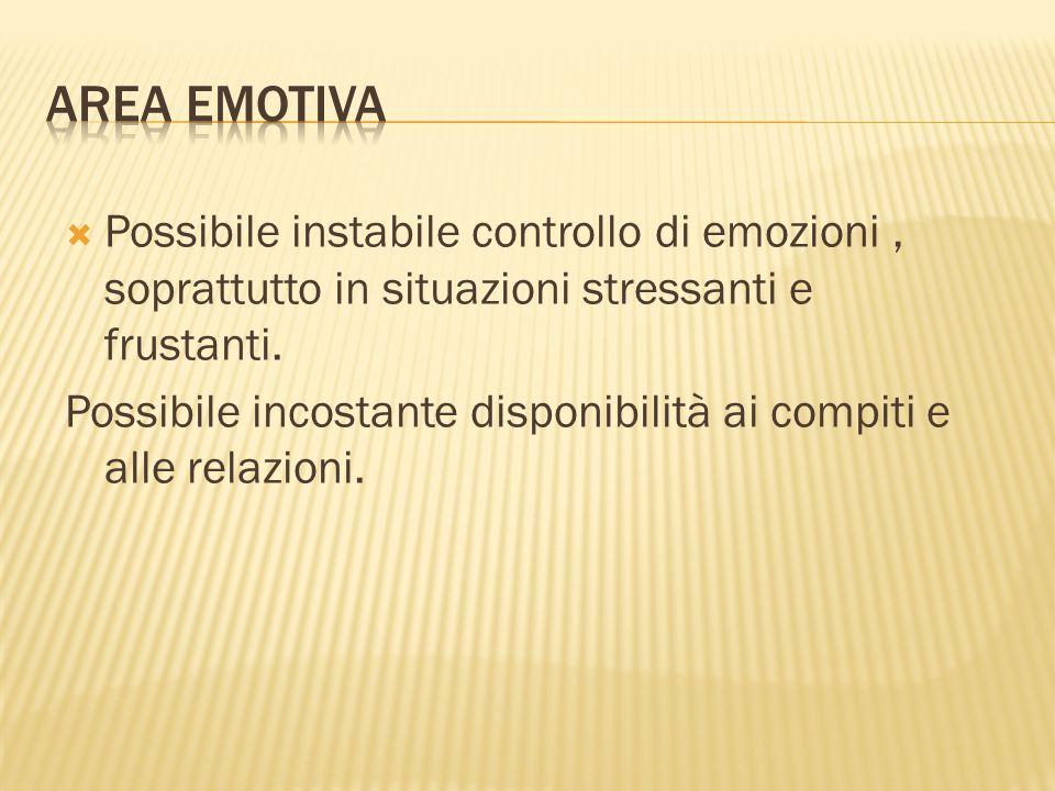  Possibile instabile controllo di emozioni, soprattutto in situazioni stressanti e frustanti.