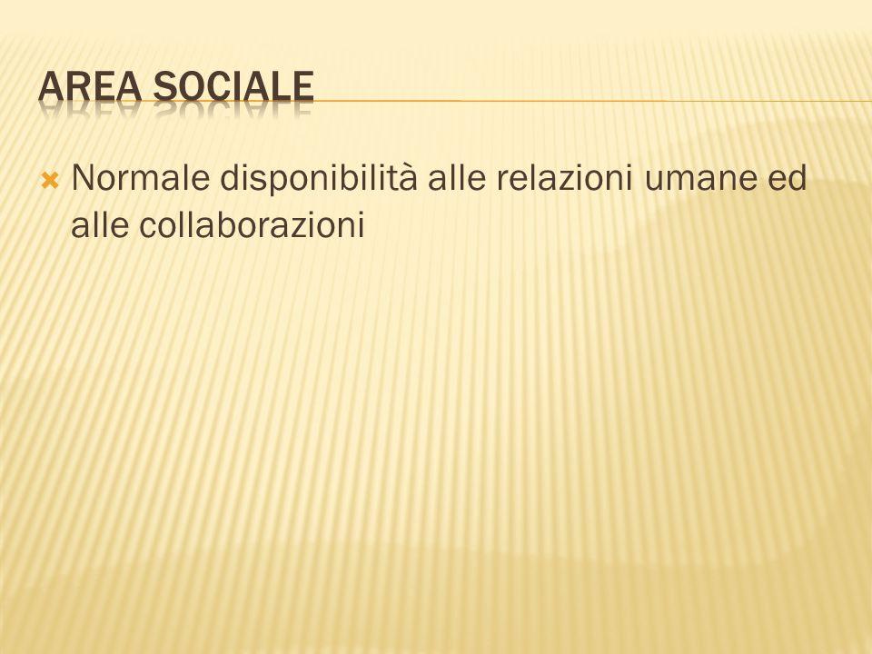  Normale disponibilità alle relazioni umane ed alle collaborazioni