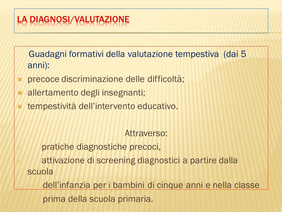 Guadagni formativi della valutazione tempestiva (dai 5 anni):  precoce discriminazione delle difficoltà;  allertamento degli insegnanti;  tempestività dell'intervento educativo.