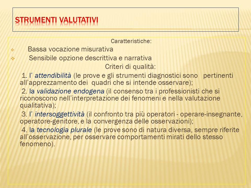 Caratteristiche:  Bassa vocazione misurativa  Sensibile opzione descrittiva e narrativa Criteri di qualità: 1.
