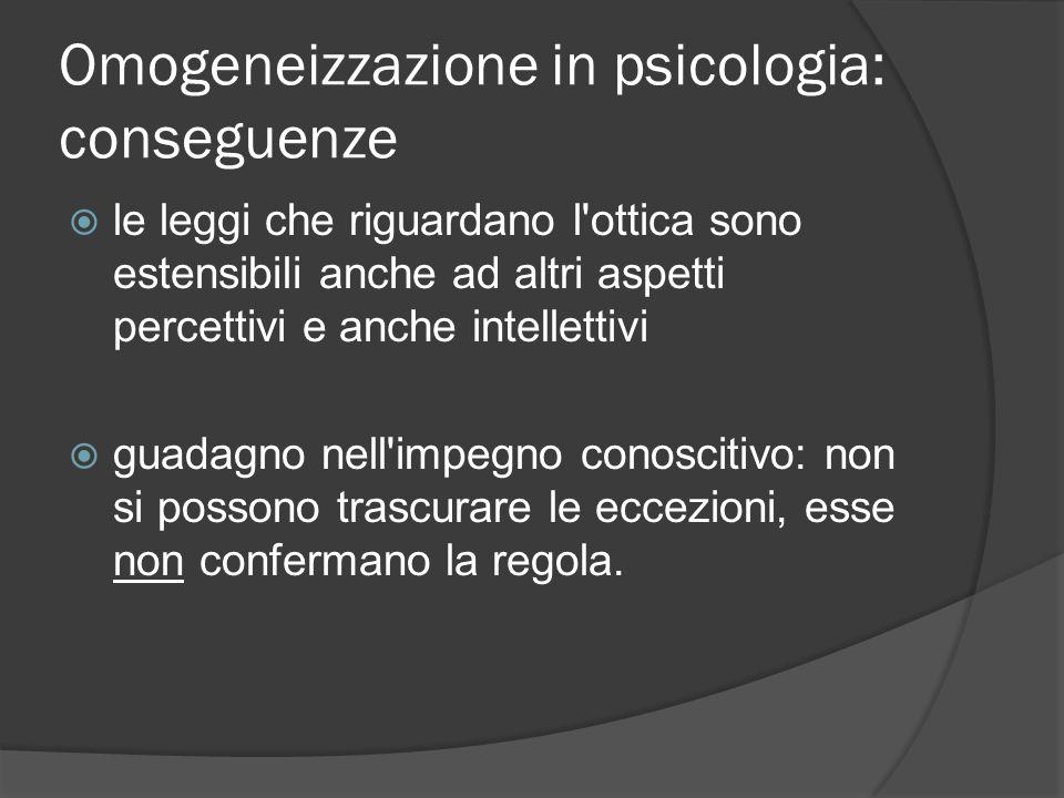 Omogeneizzazione in psicologia: conseguenze  le leggi che riguardano l ottica sono estensibili anche ad altri aspetti percettivi e anche intellettivi  guadagno nell impegno conoscitivo: non si possono trascurare le eccezioni, esse non confermano la regola.