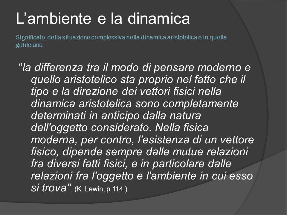 Significato della situazione complessiva nella dinamica aristotelica e in quella galileiana.