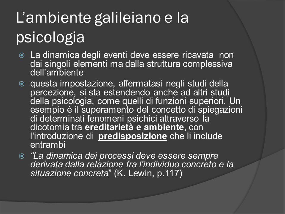 L'ambiente galileiano e la psicologia  La dinamica degli eventi deve essere ricavata non dai singoli elementi ma dalla struttura complessiva dell'ambiente  questa impostazione, affermatasi negli studi della percezione, si sta estendendo anche ad altri studi della psicologia, come quelli di funzioni superiori.