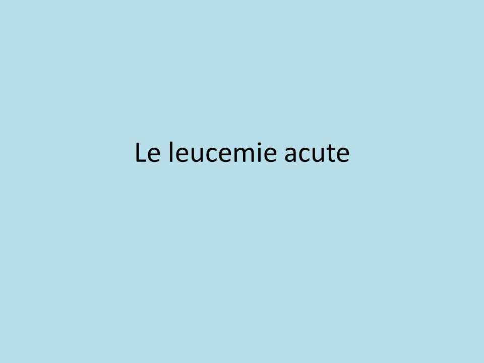 Le leucemie acute