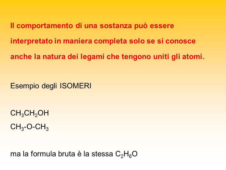Il comportamento di una sostanza può essere interpretato in maniera completa solo se si conosce anche la natura dei legami che tengono uniti gli atomi.