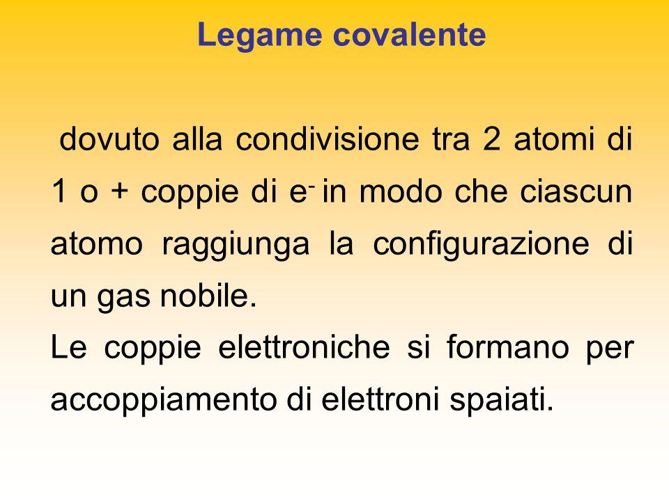 Legame covalente dovuto alla condivisione tra 2 atomi di 1 o + coppie di e - in modo che ciascun atomo raggiunga la configurazione di un gas nobile.
