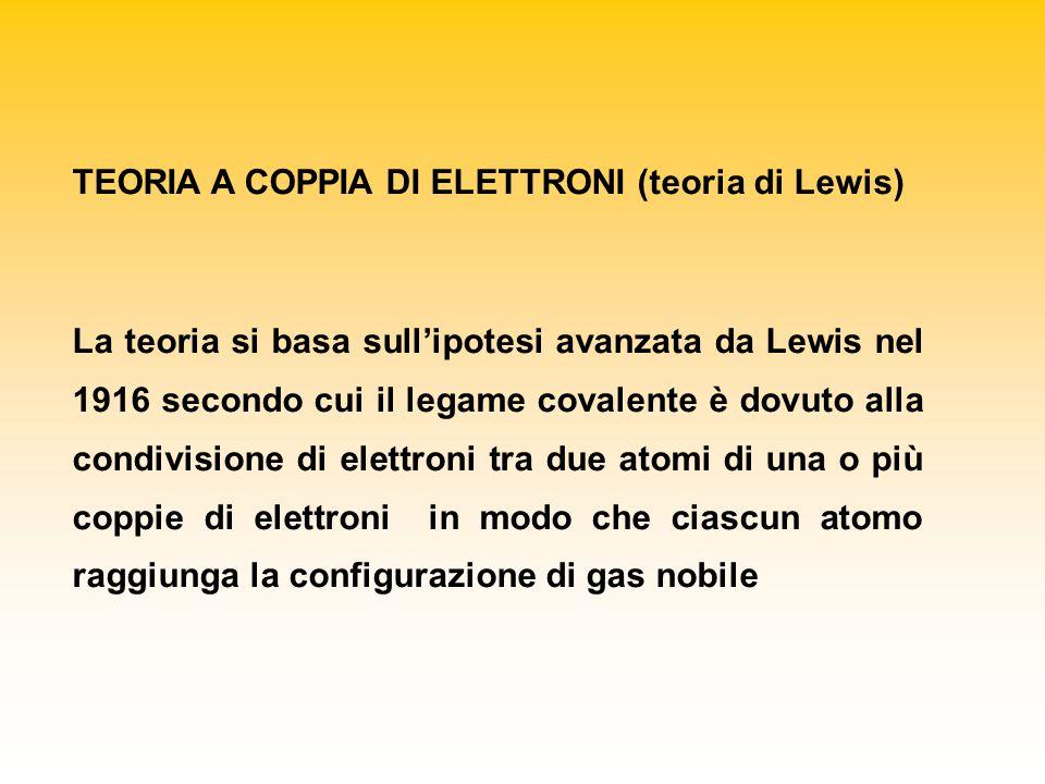 TEORIA A COPPIA DI ELETTRONI (teoria di Lewis) La teoria si basa sull'ipotesi avanzata da Lewis nel 1916 secondo cui il legame covalente è dovuto alla condivisione di elettroni tra due atomi di una o più coppie di elettroni in modo che ciascun atomo raggiunga la configurazione di gas nobile