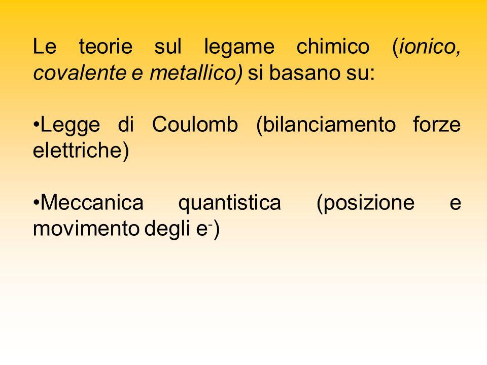 Le teorie sul legame chimico (ionico, covalente e metallico) si basano su: Legge di Coulomb (bilanciamento forze elettriche) Meccanica quantistica (posizione e movimento degli e - )