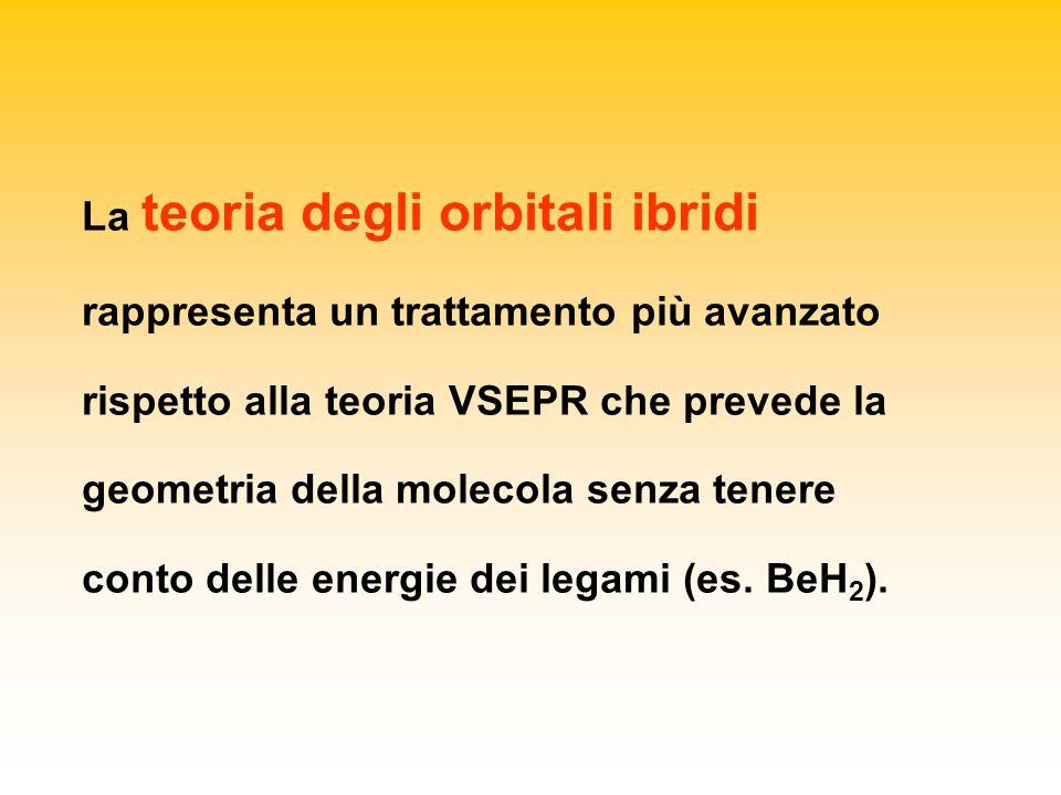 La teoria degli orbitali ibridi rappresenta un trattamento più avanzato rispetto alla teoria VSEPR che prevede la geometria della molecola senza tenere conto delle energie dei legami (es.