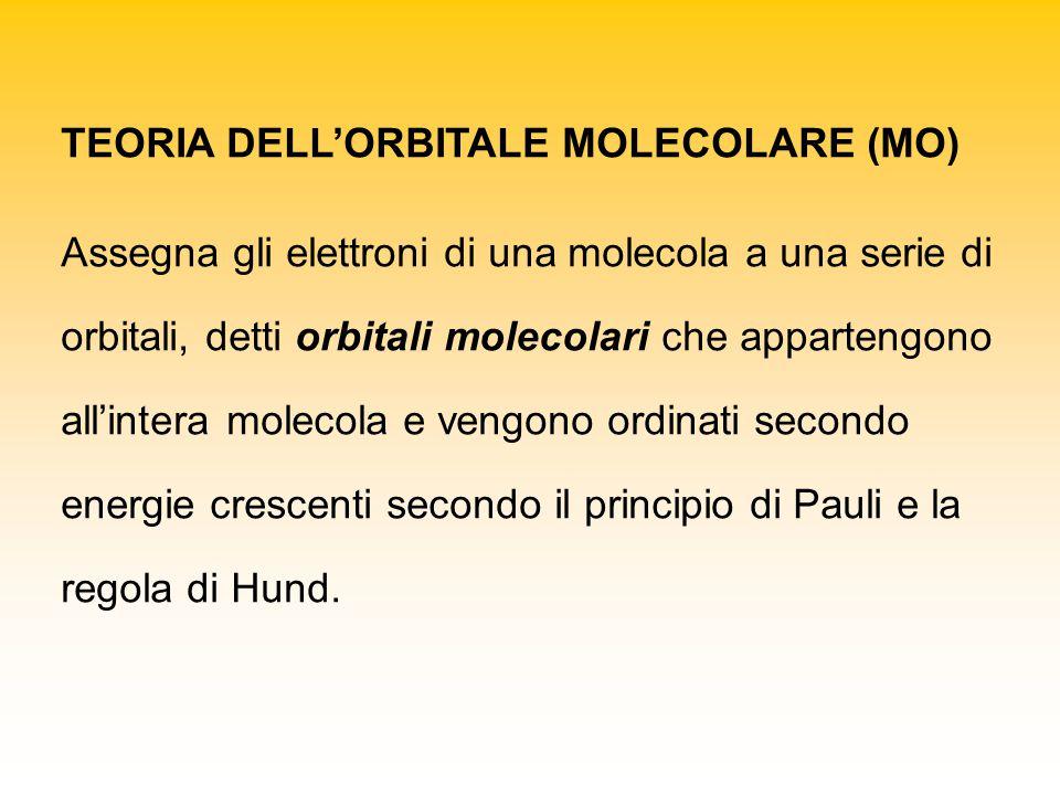 TEORIA DELL'ORBITALE MOLECOLARE (MO) Assegna gli elettroni di una molecola a una serie di orbitali, detti orbitali molecolari che appartengono all'intera molecola e vengono ordinati secondo energie crescenti secondo il principio di Pauli e la regola di Hund.