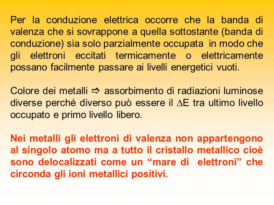 Per la conduzione elettrica occorre che la banda di valenza che si sovrappone a quella sottostante (banda di conduzione) sia solo parzialmente occupata in modo che gli elettroni eccitati termicamente o elettricamente possano facilmente passare ai livelli energetici vuoti.