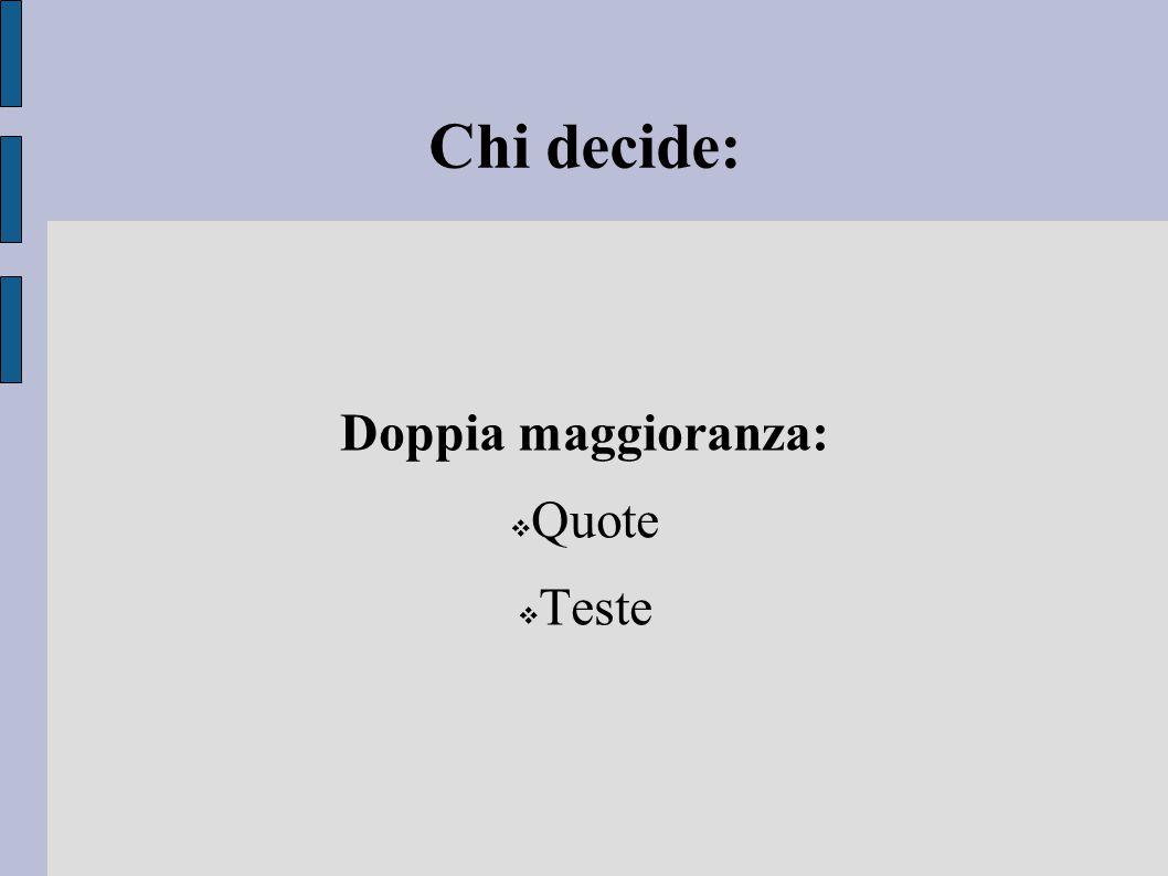 Chi decide: Doppia maggioranza:  Quote  Teste