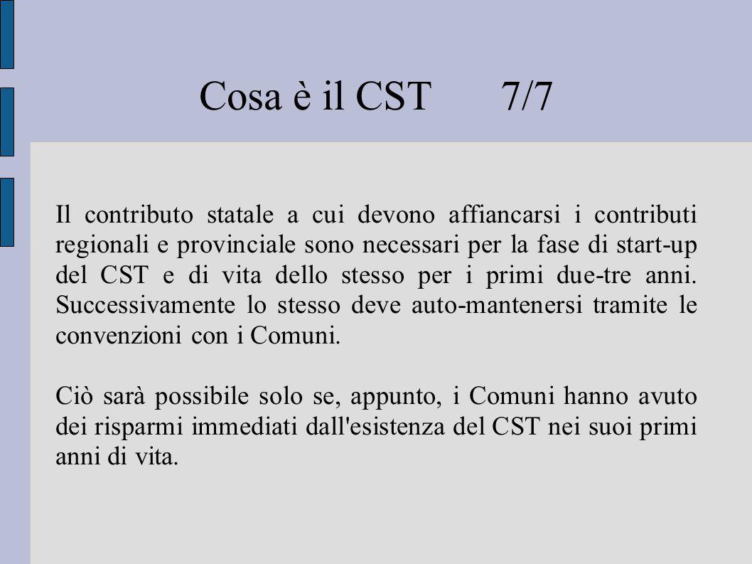 Cosa è il CST 7/7 Il contributo statale a cui devono affiancarsi i contributi regionali e provinciale sono necessari per la fase di start-up del CST e di vita dello stesso per i primi due-tre anni.