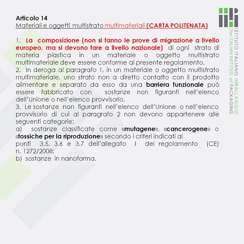 Articolo 13 Materiali e oggetti di materia plastica multistrato 1. La composizione di ogni strato di materia plastica di un materiale o oggetto di mat