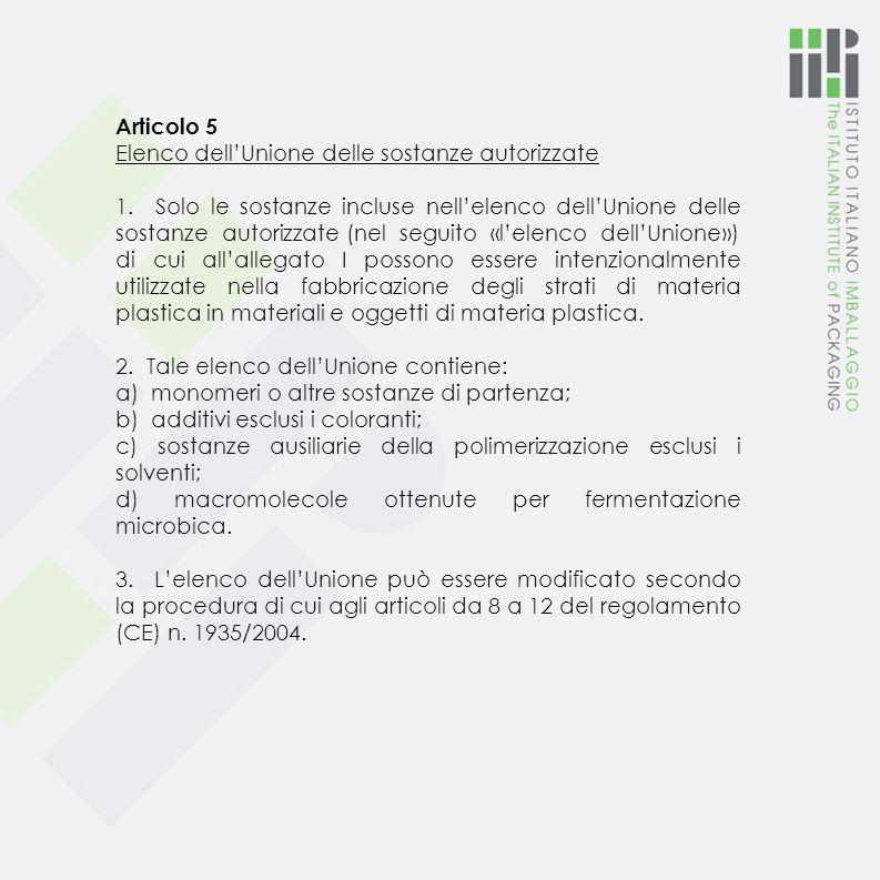 Articolo 2 Campo di applicazione 1. Il presente regolamento si applica ai materiali e agli oggetti immessi sul mercato dell'UE che rientrano nelle seg