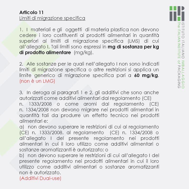 Articolo 11 Limiti di migrazione specifica 1.