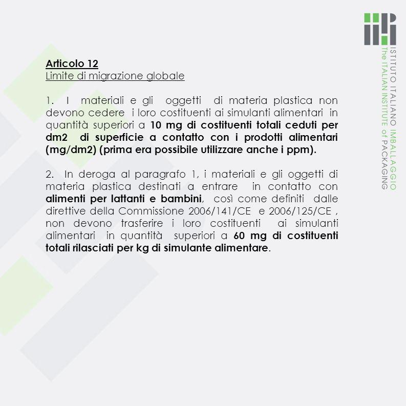 Articolo 11 Limiti di migrazione specifica 1. I materiali e gli oggetti di materia plastica non devono cedere i loro costituenti ai prodotti alimentar