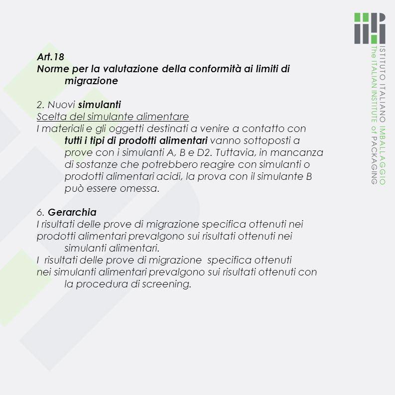 Art.18 Norme per la valutazione della conformità ai limiti di migrazione 2.