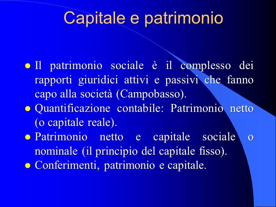 Conferimenti e capitale l «I conferimenti costituiscono i contributi dei soci alla formazione del patrimonio iniziale della società».