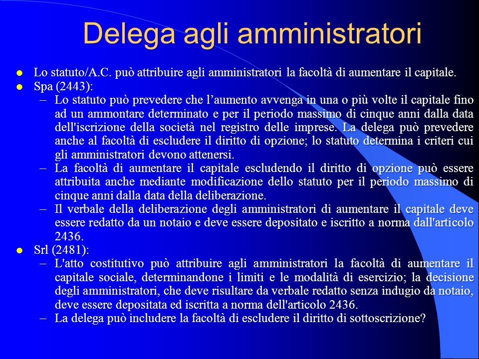 Delega agli amministratori l Lo statuto/A.C. può attribuire agli amministratori la facoltà di aumentare il capitale. l Spa (2443): –Lo statuto può pre