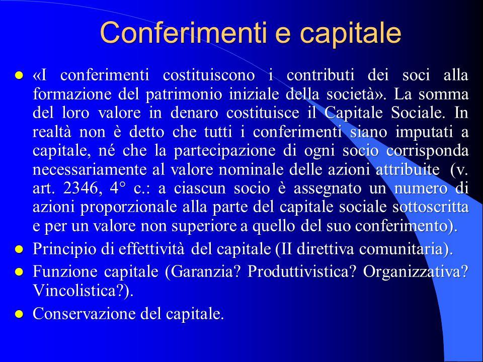 Conferimenti e capitale l «I conferimenti costituiscono i contributi dei soci alla formazione del patrimonio iniziale della società». La somma del lor