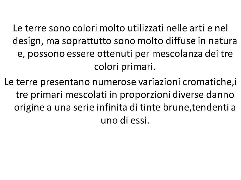 Le terre sono colori molto utilizzati nelle arti e nel design, ma soprattutto sono molto diffuse in natura e, possono essere ottenuti per mescolanza d