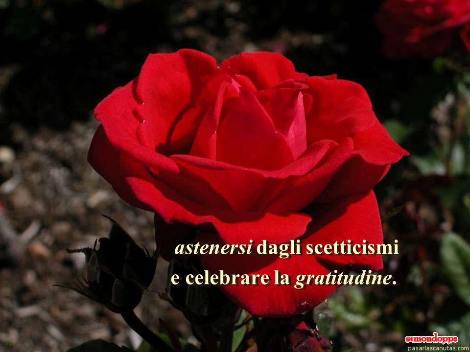 Sue astenersi dagli scetticismi e celebrare la gratitudine.