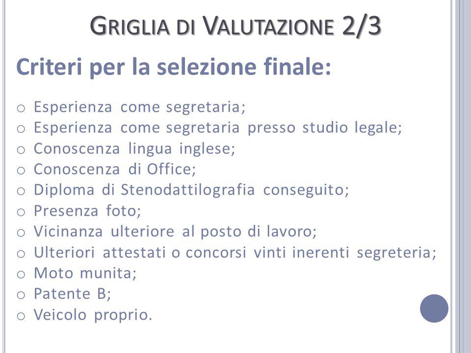 G RIGLIA DI V ALUTAZIONE 2/3 Criteri per la selezione finale: o Esperienza come segretaria; o Esperienza come segretaria presso studio legale; o Conos