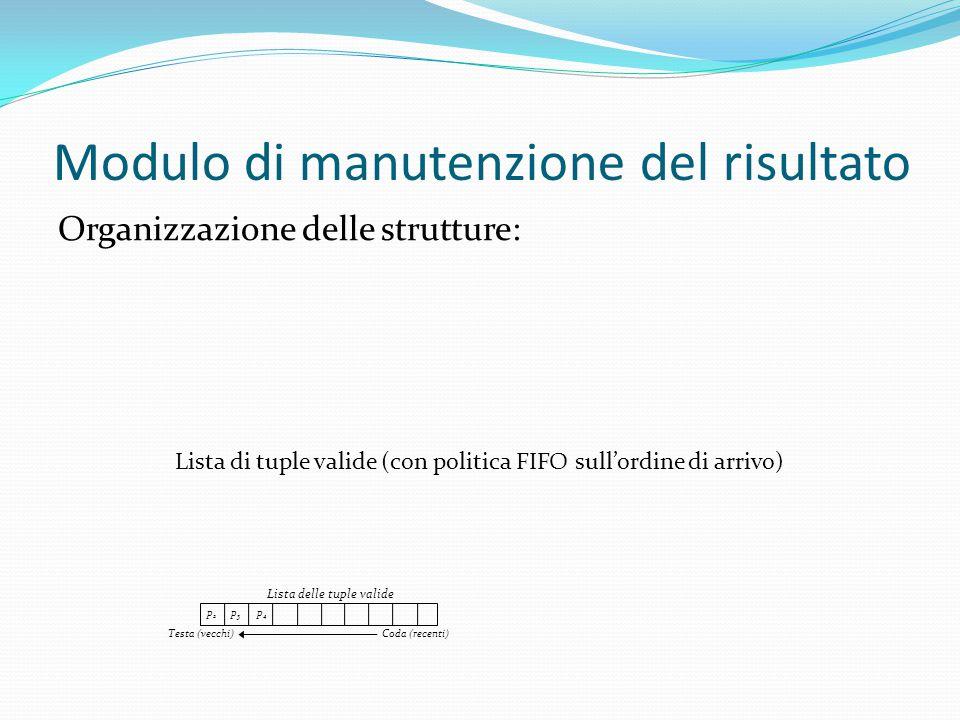 Modulo di manutenzione del risultato Organizzazione delle strutture: p2p2 Lista delle tuple valide p3p3 p4p4 Testa (vecchi) Coda (recenti) Lista di tuple valide (con politica FIFO sull'ordine di arrivo)
