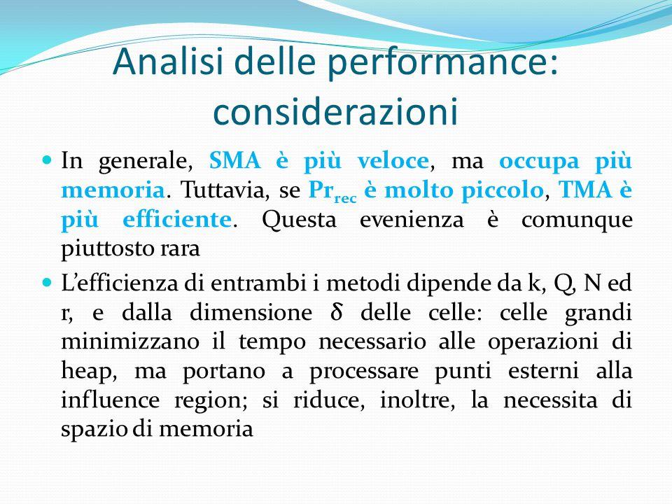 In generale, SMA è più veloce, ma occupa più memoria. Tuttavia, se Pr rec è molto piccolo, TMA è più efficiente. Questa evenienza è comunque piuttosto