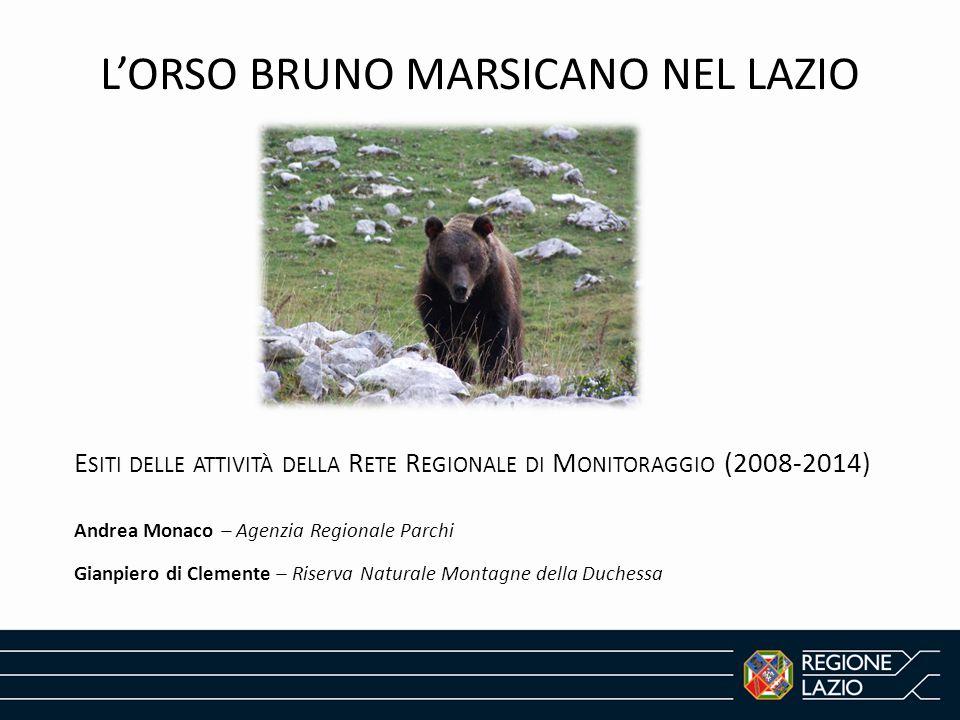 L A R ETE R EGIONALE DI M ONITORAGGIO DELL ' ORSO BRUNO MARSICANO