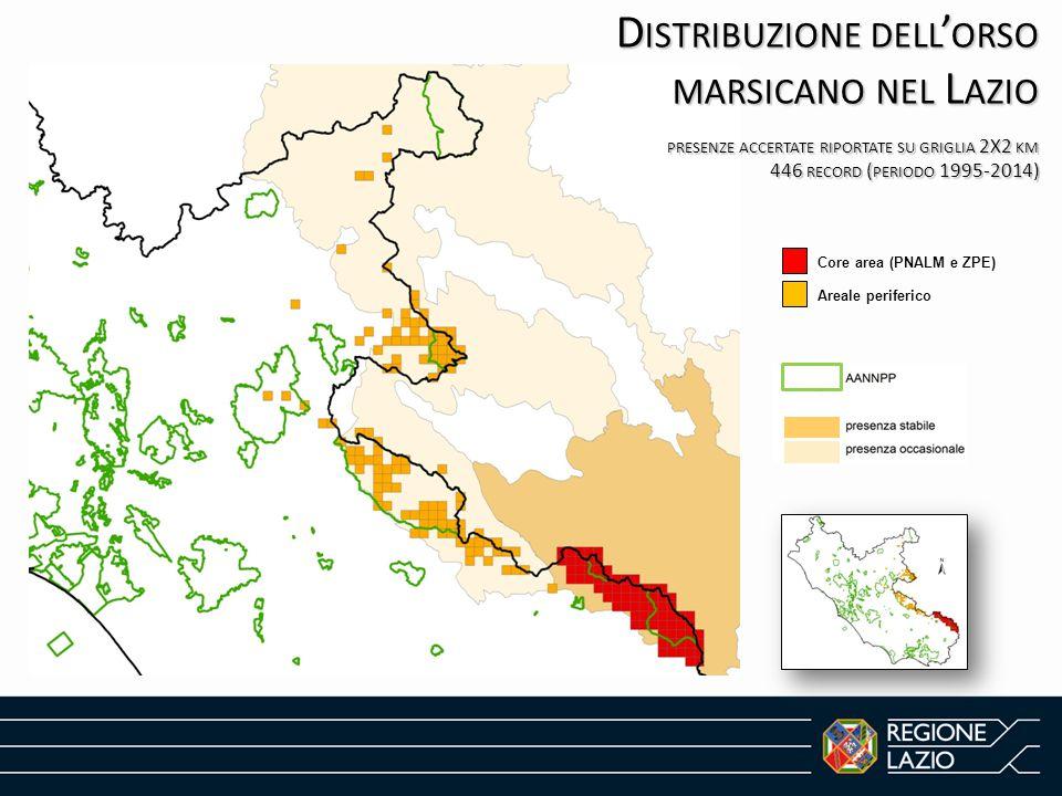 D ISTRIBUZIONE DELL ' ORSO MARSICANO NEL L AZIO PRESENZE ACCERTATE RIPORTATE SU GRIGLIA 2X2 KM 446 RECORD ( PERIODO 1995-2014) Core area (PNALM e ZPE)
