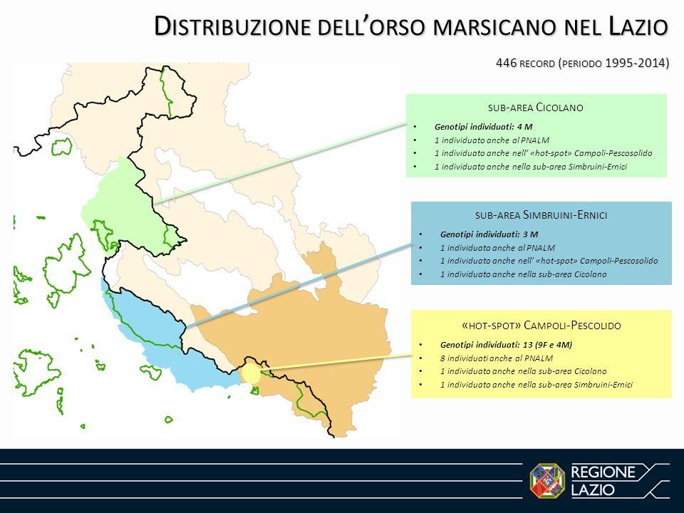 D ISTRIBUZIONE DELL ' ORSO MARSICANO NEL L AZIO 446 RECORD ( PERIODO 1995-2014) SUB - AREA C ICOLANO Genotipi individuati: 4 M 1 individuato anche al