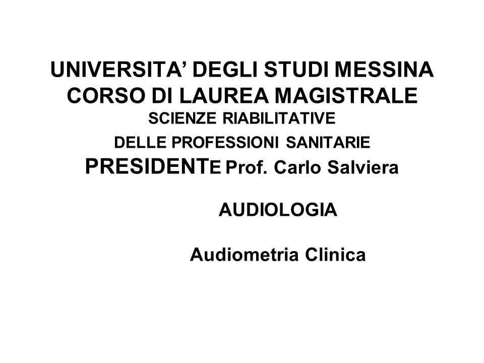 UNIVERSITA' DEGLI STUDI MESSINA CORSO DI LAUREA MAGISTRALE SCIENZE RIABILITATIVE DELLE PROFESSIONI SANITARIE PRESIDENT E Prof.