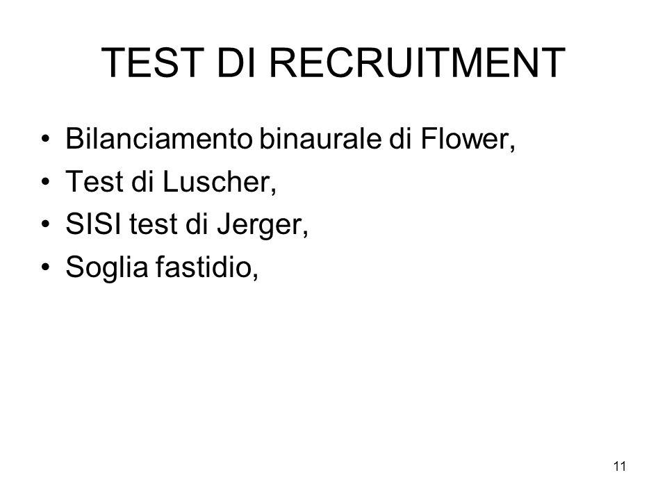 11 TEST DI RECRUITMENT Bilanciamento binaurale di Flower, Test di Luscher, SISI test di Jerger, Soglia fastidio,
